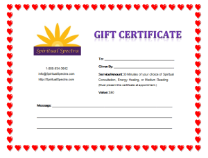 for Valentine's Day buy a Gift Certificate