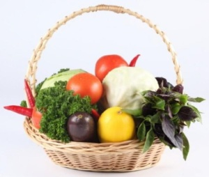 image of basket filled with vegetables