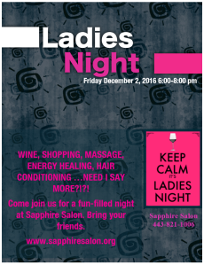 flyer for Ladies Night at Sapphire Salon in Clarksville