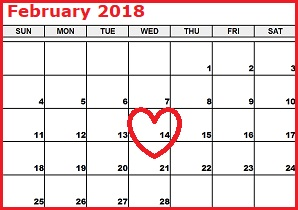 Calendar highlighting Valentine's Day