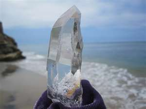 clear crystal quartz on the beach