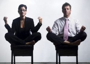 photo of office workers doing Meditation