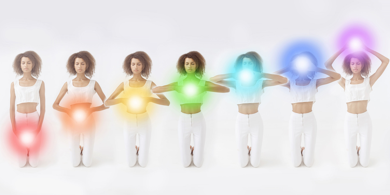 The chakras along the body.